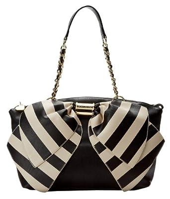 Betsey Johnson Bownanza Shoulder Bag,Large Black Stripe,One Size