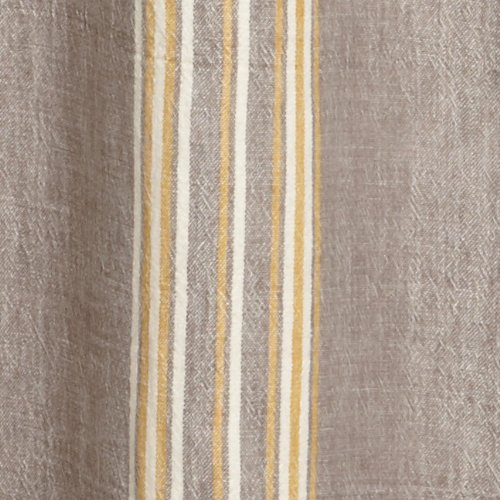 Coyuchi Rustic Linen Shower Curtain Gray With Mustard Ivory