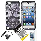 4 items Combo: ITUFFY(TM) LCD Screen Protector Film + Mini Stylus Pen + Case Opener + Silver Blue Greyish Tree Skull Design Rubberized Hard Plastic + Soft Rubber TPU Skin Dual Layer Tough Hybrid Case for Apple ipod Touch 5 (5th Generation Ipod Touch)