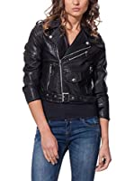 L'OLIVE VERZE Chaqueta Cropped Biker With Belt Detail (Negro)