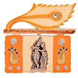 GATTS Decorative Orange Color Shree Radha Krishna Peacock Diamond Studded Wall Hanging(13x13.8x1.5 Inch)
