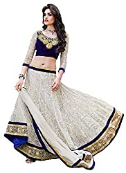 S4S Rasal Net Embroidered Semi-stitched Lehenga Choli Material (White)