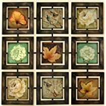 Autumn Leaves and Floral Art - Beautiful Home and Office Antique Looking Metal Wall Decor