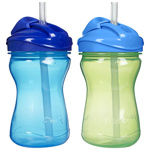 Playtex Baby Lil' Gripper Twist 'n Click 9 Ounce Straw Cup, 2 Count - Blue/Green (Playtex Lil Gripper Straw Cup compare prices)