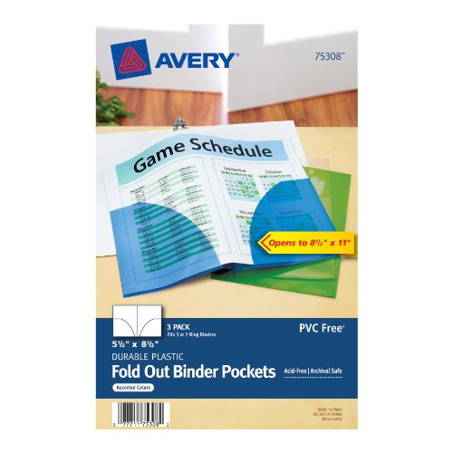 avery mini assorted binder pockets for 5 5 x 8 5 inches binders pack