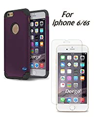 iPhone 6 6s Case, Vogue Shop 2in1 Hybrid Case Hard Cover Printed Design Pc+ Silicone Hybrid High Impact Defender Case Combo, Includes Tempered Glass Screen Protector kit for iPhone 6 6s