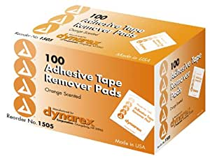 Dynarex Adhesive Tape Remover Pad, 100 Count (Pack of 10)