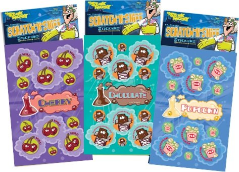 Dr. Stinky's Scratch N Sniff Stickers 3-Pack- Cherry, Popcorn, Chocolate 81 Stickers