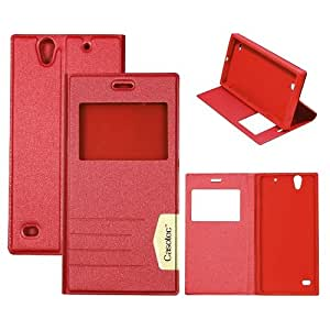 Casotec Premium Caller-id Flip Case Cover with Invisible Magnet Closure for Sony Xperia C4 - Red