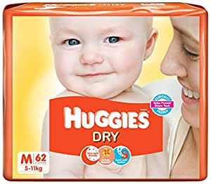 Huggies New Dry Diapers Medium (62 Count)