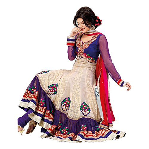 RedHot Women's Anarkali Stlye Unstitched Designer Salwar Suit / Dress Material in Georgette Fabrics  (RHJW1001) White