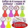 Coffret de 6 tampons de professeur en fran�ais - Avec Aide, Attention au soin, Champion de copie, Vu, Tr�s bon travail / Continue ainsi, Courage Continue.