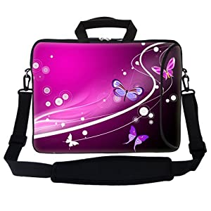 Neoprene Laptop Bag with Extra Side Pocket & Soft Carrying Handle & Removable Shoulder Strap for 15 15.6 Inch Notebook - Pink Swirl Butterfly Design from Meffort inc