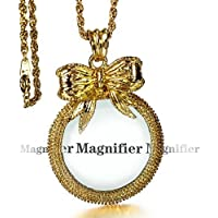 Donalady 2x Gold Magnifying Glass Necklace Bowknot Pendant Magnifier With Gold Chain(White Gold, Gold)) (Gold)