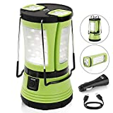 LE 600lm Rechargeable Camp Lantern LED with 2 Detachable Mini Handy Flashlight Torch, Water Resistant Tent Light, USB Cable + Car Charger Included, Perfect for Camping Hiking Outdoor Use/Emergency