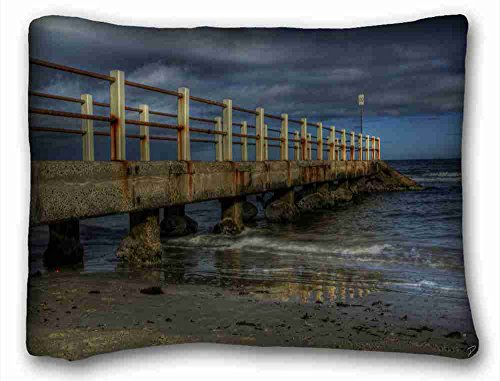 Custom Characteristic ( Landscapes twilight bridge coast landscape ) Custom Cotton & Polyester Soft Rectangle Pillow Case Cover 20x26 inches (One Side) suitable for King-bed PC-Bluish-53213