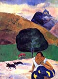buythecases Abstract Oil Painting,Landscape with Black Pigs and a Crouching Tahitian original oil pa