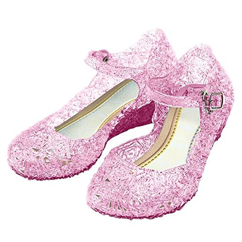 [Girls Princess Elsa Shoes For Halloween Costumes (Pink) Kids Size 13.5] (Party Glitters Costumes)
