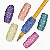 "Vinyl Pearlized Sticky Pencil Grips. Assorted styles. (4 dz./unit) 1 3/8"" Accessories not included."