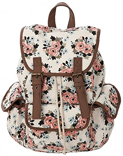 Kenox Casual Canvas Travel School College Backpack/bookbags/daypack for Teenage Girls/students/women (Floral-2)