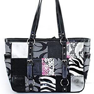 "Designer Inspired "" C C "" Signature Jacquard Cleto Patchwork Animal Print Fashion Tote Satchel Shopper Shoulder Handbag Purse in Grey Silver Zebra Snake"