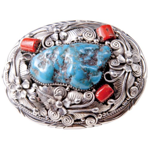 Sterling Silver hand made design belt buckle with coral and turquoise stones
