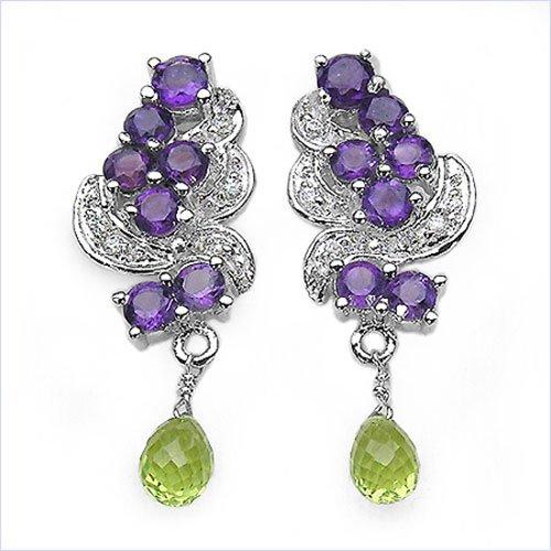 Jewelry-Schmidt-Earrings amethyst, peridot, topaz-silver-2, 84 carats