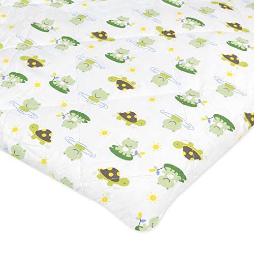Carter\'s Cotton Quilted Fitted Playard Sheet, Lilypad Frogs