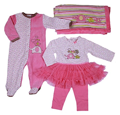 Absorba Baby-Girls 4-Pc Set With Footie, Ruffled Tutu/Leggings And Blanket (9 Months, Pink/White) front-980487