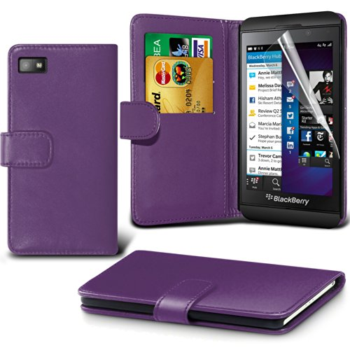 Fone-Case ( Purple ) Blackberry Z10 Faux Stylish Pu Leather Wallet Credit / Debit Card Flip Case Skin Cover With Screen Protector Guard