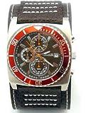 Kahuna Mens Multi-Eye Brown Cuff Leather Strap Chronograph Watch