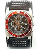 Kahuna Mens Multi-Eye Brown Cuff Leather Strap Chronograph Watch