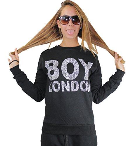 Felpa donna BOY LONDON Nero con stampa Python (M)
