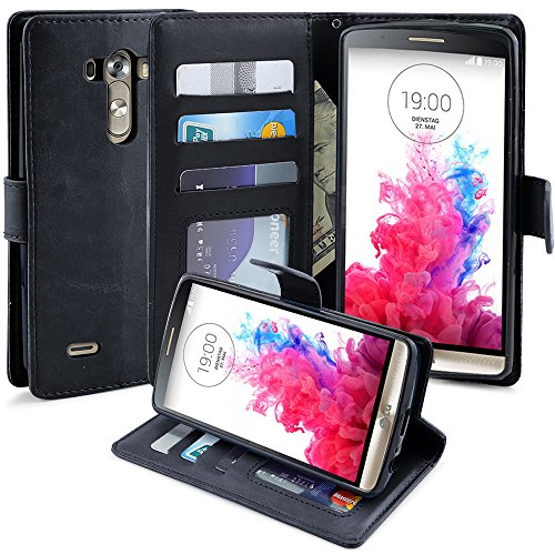 LG G3 Case, LK [Kickstand Feature] LG G3 Wallet Case, Luxury PU Leather Wallet Case Flip Cover Built-in Card Slots Stand For LG G3,BLACK (Wallet For Lg G3 compare prices)