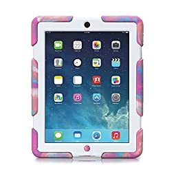 Aceguarder New Design Ipad Air 5 Waterproof Shockproof Snowproof Dirtproof Super Protection Cover Case with Stand for Kids Outdoor Sports Travel Adventure Gifts Carabiner+whistle+capacitor Pen Handwriting (Aceguarder Brand) (PINK CAMO-WHITE)