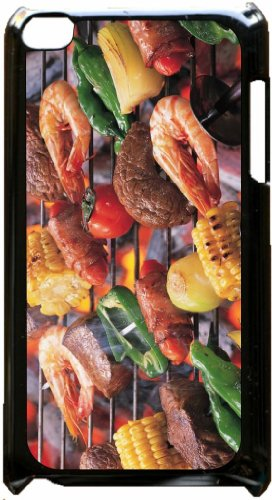 Barbeque Grill - Top View Black Plastic Snap On Case - For The Apple Ipod Itouch 4Th Generation.