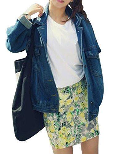 sourcingmap Donna Turn Down Colletto Maniche Lunghe Bottone Closed Giubbotto Di Jeans - cotone, Blu Scuro, 100% cotone, Donna, XS 32 EU