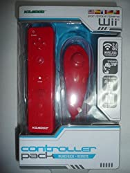 Nintendo Wii Controller Pack Remote And Nunchuck Red