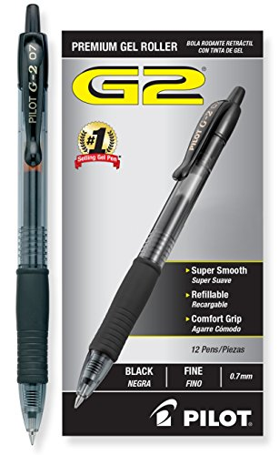 Pilot G2 Gel Ink Roller Ball Pen, Fine Point, Black - Bolígrafo (Fine Point, Black, Negro)