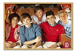Iposters One Direction Group Poster Beech Framed - 96.5 X 66 Cms (approx 38 X 26 Inches) from iPosters