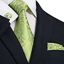 "Landisun Paisleys Mens Silk Tie Set: Necktie+Hanky+Cufflinks 97H Bright Green White,3.75""Wx59""L"