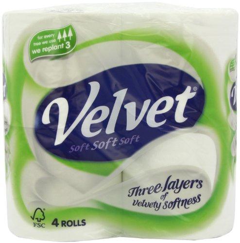Velvet White Tissues 4 Rolls (Pack of 10)