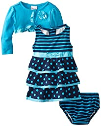 Nannette Baby Girls\' 3 Piece Polka Dot Dress Set, Ocean Wind, 12 Months