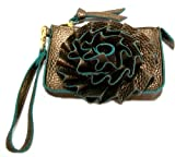 Jazzed Faux Leather Bronze Spring Flower Wristlet Purse