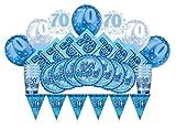 Glitz Azul 70º cumpleaños suministros para fiestas Kit para 8