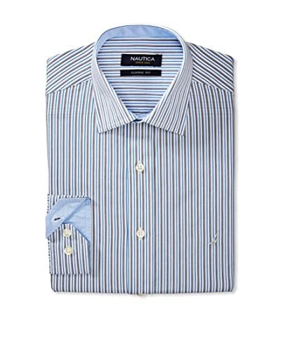 Nautica Men's Thin Stripe Spread Collar Dress Shirt