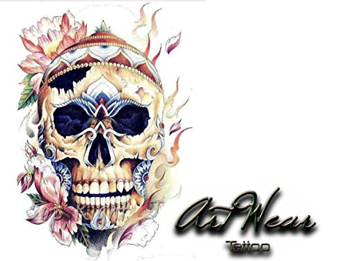 """Tatuaggio Temporaneo Realistico di artista """"Skull Flowers 2"""" - ArtWear Tattoo Skull - B0209 M"""