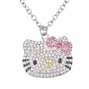Hello Kitty Silver Tone Crystal Pendant Necklace with Pink Bow