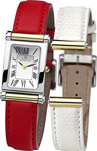 Michel Herbelin Antares Interchangeable Women's Quartz Watch with Silver Dial Analogue Display and Red Leather Strap COF17048/T01WR
