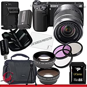 Sony Alpha NEX-5R Mirrorless Digital Camera with 18-55mm f/3.5-5.6 E-mount Zoom Lens (Black) 32GB Package 3